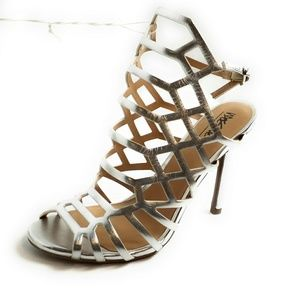 Kylea Silver Heel Strappy Caged Gladiator Pump New
